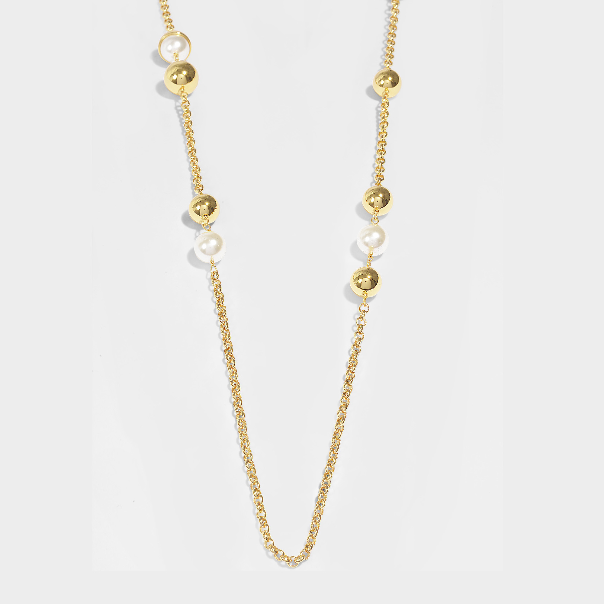 TORY BURCH CAPPED CRYSTAL PEARL CHAIN ROSARY NECKLACE, IVORY