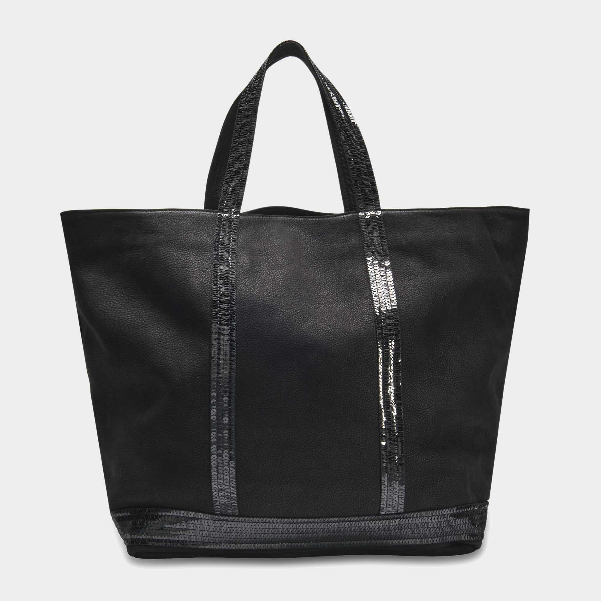 Vanessa Bruno VANESSA BRUNO | Washed Leather and Sequins Medium + Tote Bag in Coffee Cowhide