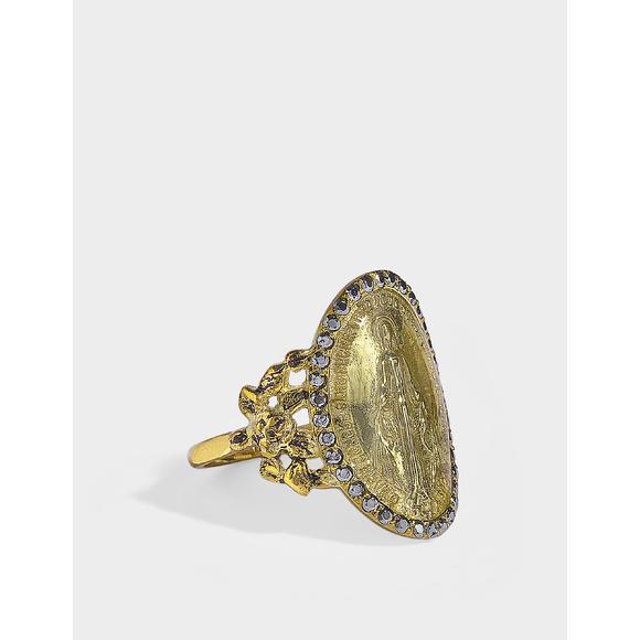 Madone 灰蓝宝石9K金椭圆指环