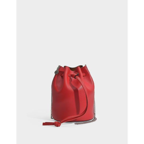 Mini Falabella Thin Chain Bucket Bag in Lover Red Eco Leather女士单肩包