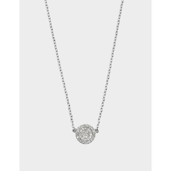Lozenge时尚项链 (银&钻石)